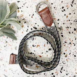 J. CREW | Woven Belt Herringbone With Leather